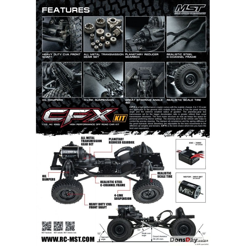 MST CFX 1/10 4WD High Performance Off-Road Car KIT (w/ESC&motor