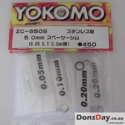 Yokomo Stainless Spacer Shim 5mm with Thickness 0.05 0.1 0.2mm